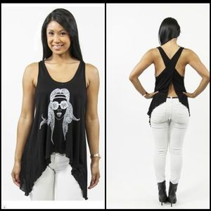 Graphic T-shirt. Black and White Boho Tank
